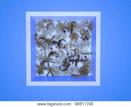 Currency Symbols In Box, Blue Abstract Background