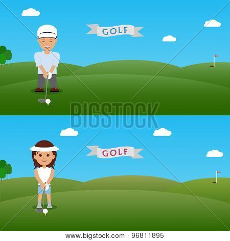Set illustration man and woman golfer.