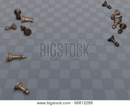 Wood Chess On Empty Checkerboard Floor, Universal Background For Presentations
