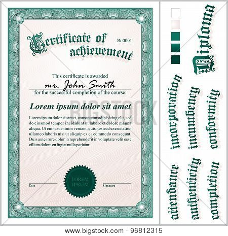 Vector illustration of green certificate. Template. Vertical. Additional design elements.