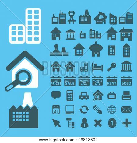 real estate icons set, vector