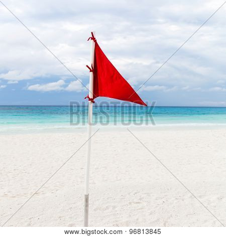 Lifeguard Red Flag At The Beach In Bad Weather