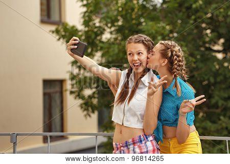 Best Friends Teenagers In Park. Selfie