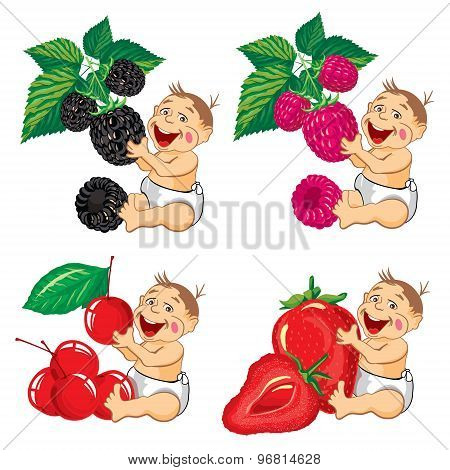 drawing cartoon smiling baby with a blackberries, strawberries, raspberries and cherry