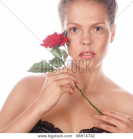 Portrait Of Teen Girl With Rose Flower And Makeup.