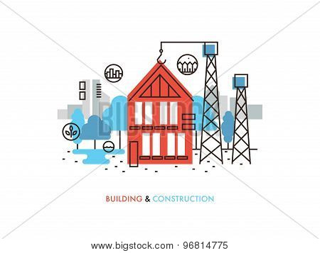 Construction Building Flat Line Illustration