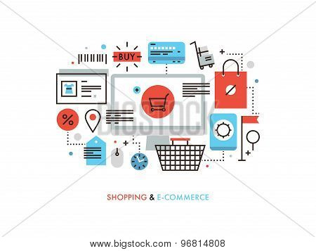 Shopping And E-commerce Flat Line Illustration