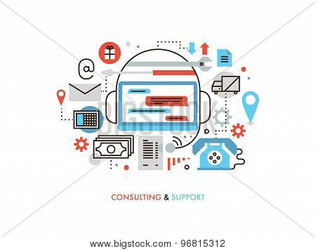 Support And Consulting Flat Line Illustration