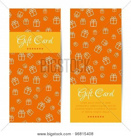 Vector vertical gift cards. Banners, brochures set