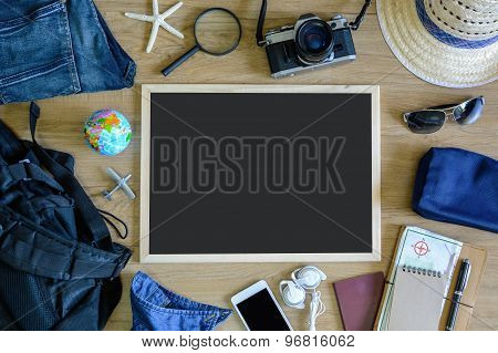 Outfit Of Traveler On Old Wooden Background