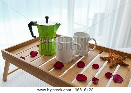 Breakfast Tray With Coffee On Bed Decorated Roses