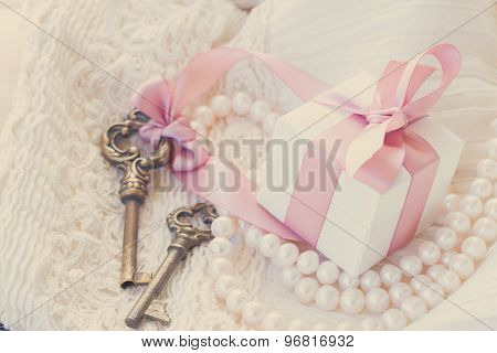gift box and keys