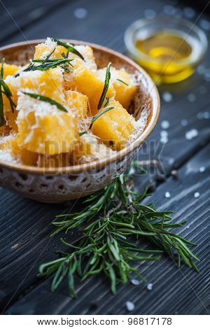 Crunchy Croutons In Bowl With Rosemary