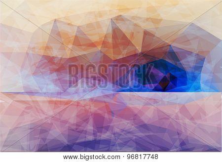 Polygonal seaside view sammer poster