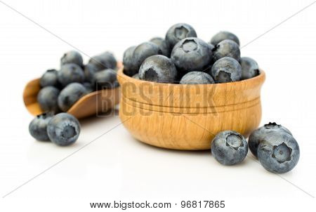Ripe Blueberries In Wooden Bowl