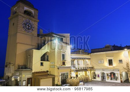 The Clock Tower At La Piazzetta In Capri In Italy