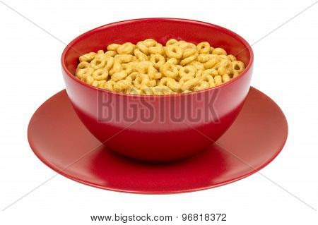 Bowl with whole grain cheerios cereal isolated.