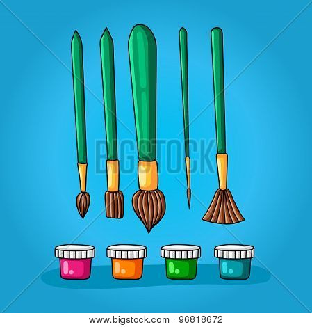 Color set of five different brushes for painting and four colors in small jars with lids