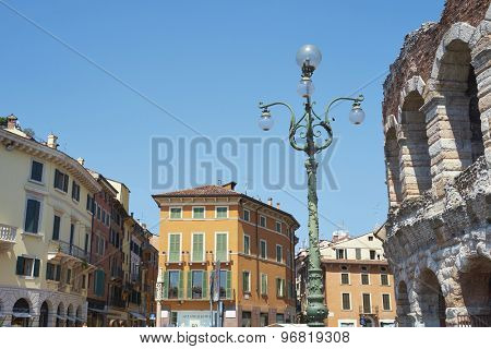 VERONA, ITALY - JULY 13: Low angle shot of lamp post in Piazza Bra. July 13, 2015 in Verona.