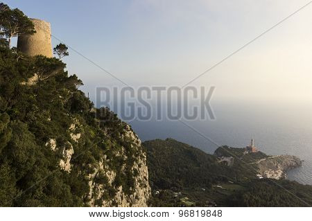 Punta Carena Lighthouse And Torre Della Guardia In Capri, Italy