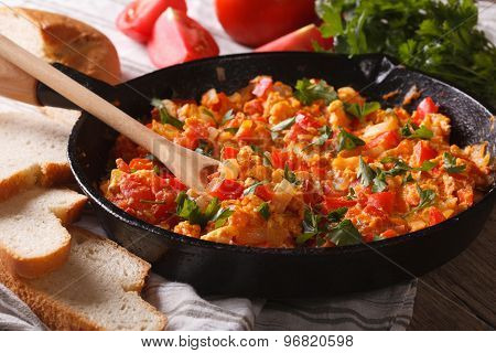 Turkish Omelet With Vegetables Close-up In A Frying Pan. Horizontal