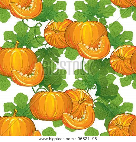seamless pattern of ripe pumpkins with leaves and pumpkin slices with seeds