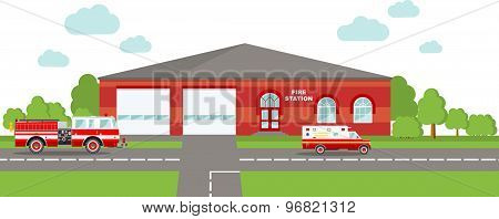 Fire station emergency concept. Panoramic background with fire station building and fire truck