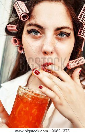 Girl Eats Jam