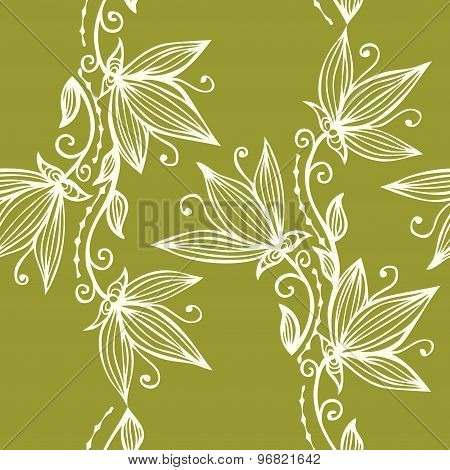 Vertical Garlands Floral Line Art Seamless Pattern