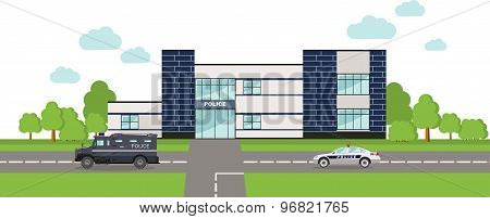 Police concept. Panoramic background with police department building and police car in flat style.