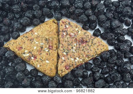 Integral Cookies With Fruit And Sesame Surrounded With Dried Aronia