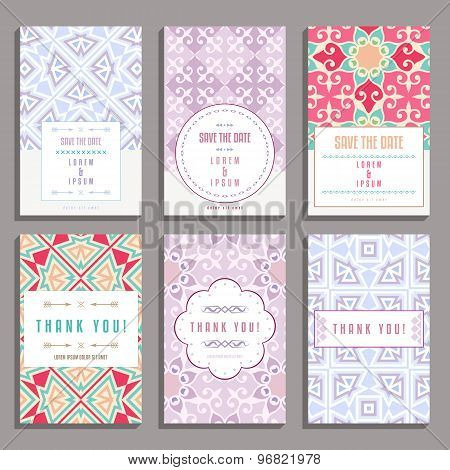 Set Of Six Wedding Cards With Oriental Ornaments