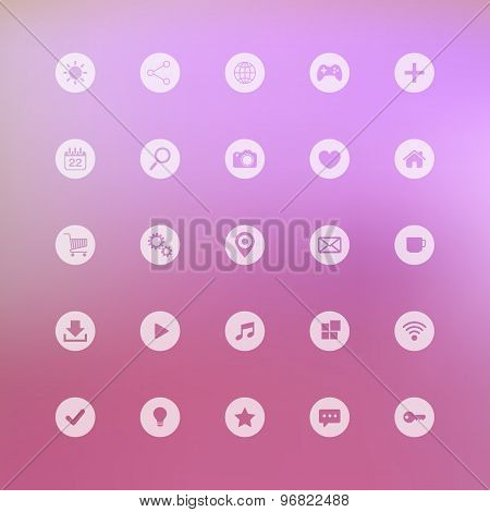 Set of web icons on blurred background.