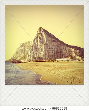 Instant Photo Of Gibraltar, As Seen From The Beach Of La Atunara, In La Linea De La Concepcion
