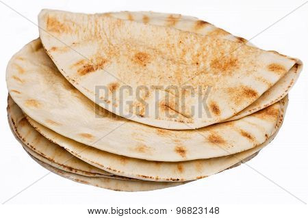 Round tortillas, on white background