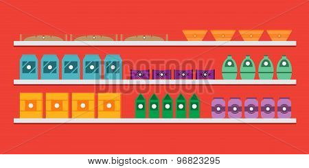 Shelves With Goods In A Bakery, Cafe Or Restaruant