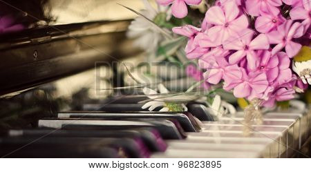 Bouquet Of Summer Flowers On A Piano