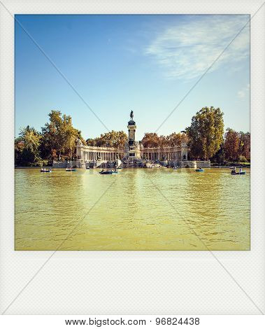 Instant Photo Of Monument To Alonso Xii, Buen Retiro Park, Madrid