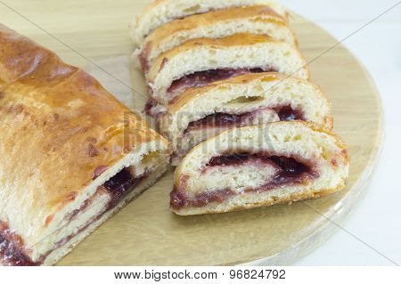 Homemade Strudel With Strawberry Jam