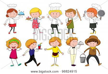 Set of men and women in differernt occupation on white background