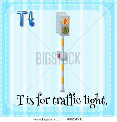 Flashcard of letter T is for traffic light