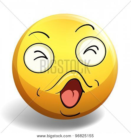 Emoticon of singing face expression on white background