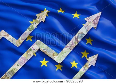 Growing Euro Notes Arrows Over The Flag Of European Union.