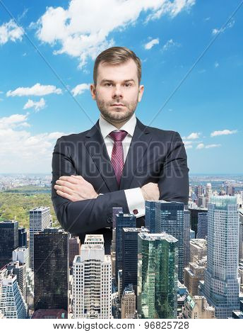 Close Up Of The Transparent Businessman And New York Panoramic View.