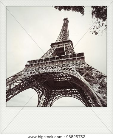 Instant Photo Of  The Eiffel Tower In Black And White, Paris