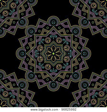 Elegant, seamless, vector background with oriental ornaments of mandalas on a black background. Brig