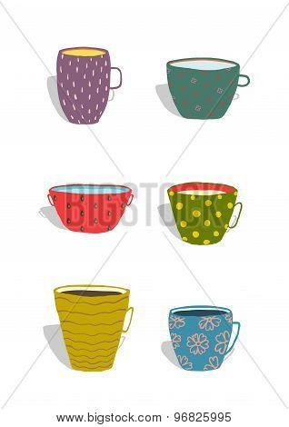 Cups and Mugs Ceramics Colorful Fun Set
