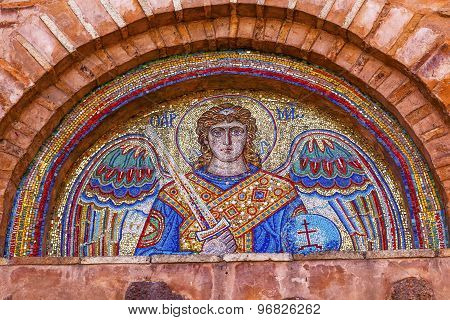 Ancient Saint Michael Mosaic Mikhaylovsky Church Vydubytsky Monastery Kiev Ukraine