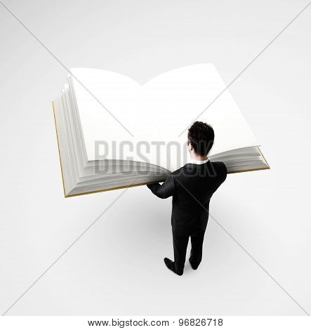 Businessman Holding Big Book