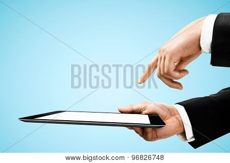 Hand Holding And Pushing Tablet